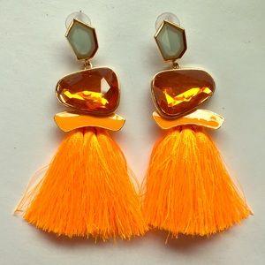 Neon Orange thread statement earrings. Like new.